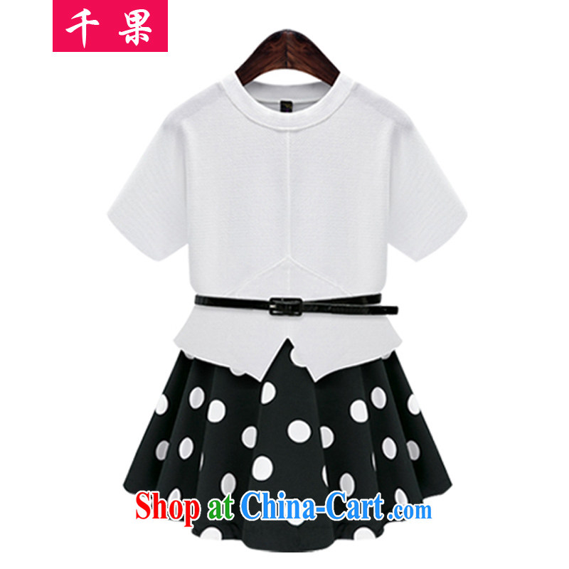 1000 fruit King code female 200 Jack Kit mm thick summer new funds back the fat increase, short-sleeved T shirt + short skirt video thin two-piece female 888 white 5 XL