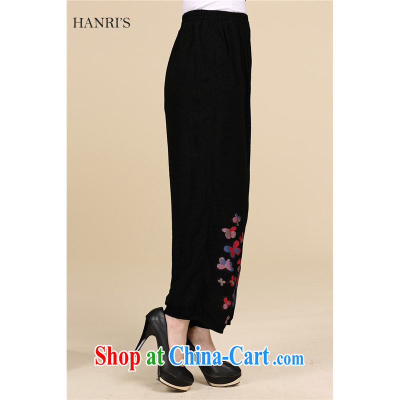 Han Rui hanris fat MA summer breathable cotton pants Yau Ma Tei exclusive stamp female pants relaxed, older style cotton pants Ma 823 black L, Patrick Ryan (hanris), online shopping