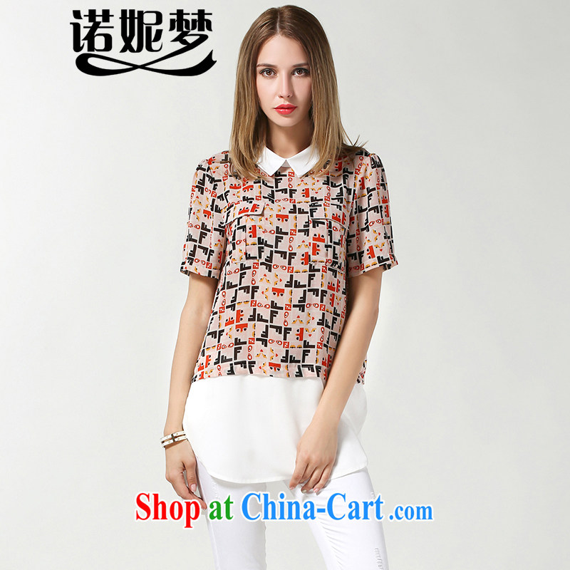 Connie's dream in Europe XL women mm thick summer 2015 New Style lapel stamp snow woven shirts loose video thin short sleeved T-shirt women s 3607 picture color XXXL