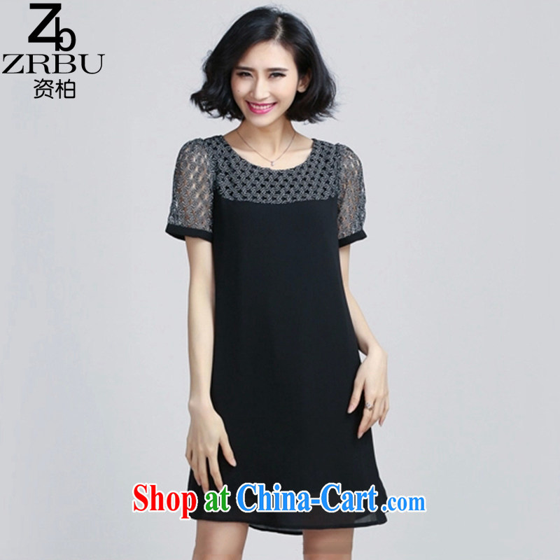 Robert Black for 2015 summer new thick MM XL female European and American liberal graphics thin short-sleeved lace stitching snow woven dresses female Z 9555 black 4XL
