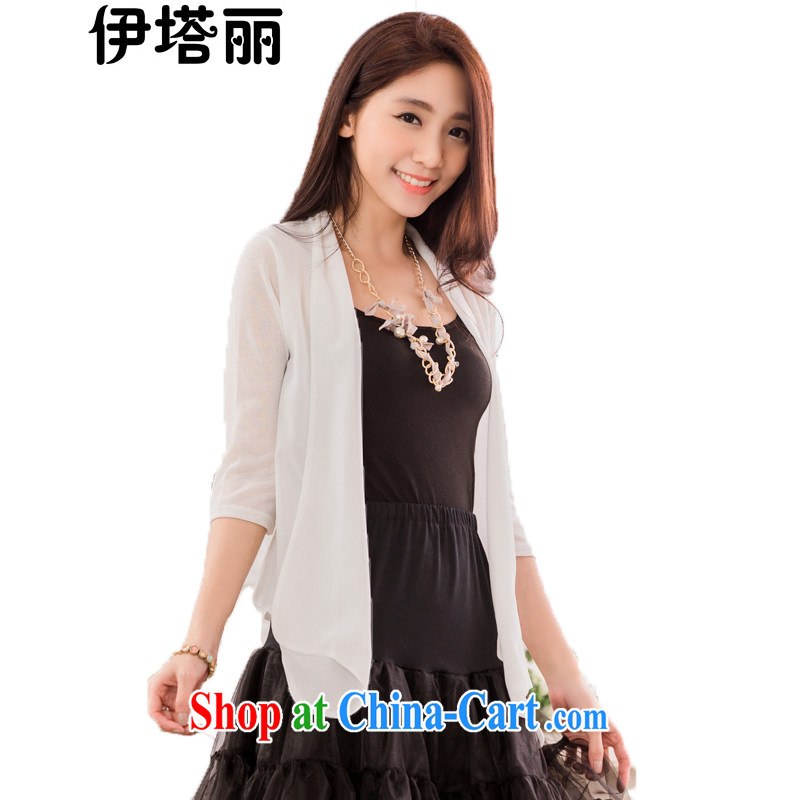 The Taliban, the Code women summer 2015 new Korean version 100 ground in knitted cuff air conditioning T-shirt the T-shirt and was dressed up thick MM shawl sunscreen shirts snow woven shirts white XXXL 140 jack - 160 jack