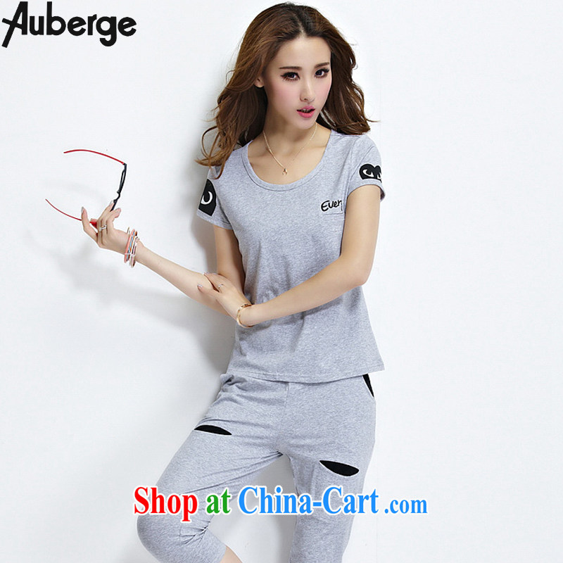 Auberge 2015 summer new Korean fashion sport and leisure package female beauty graphics thin short-sleeve 7 pants two-piece gray XXL