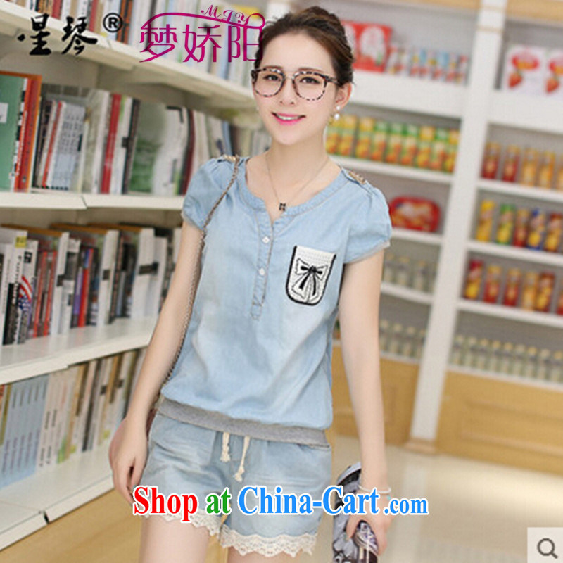 Girls summer new students with Korean Pure Cotton High School cowboy T-shirt girl short-sleeved T-shirt with blue denim shorts XXL