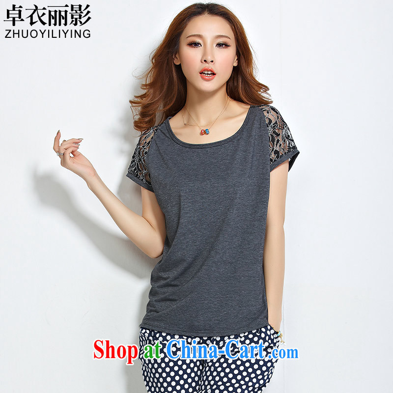 Cheuk-yan Yi Lai film 2015 summer new Korean version thick MM large code female loose video thin bat short-sleeve lace stitching short T Board spent 1197 gray 2 XL recommendations 115 - 130 jack