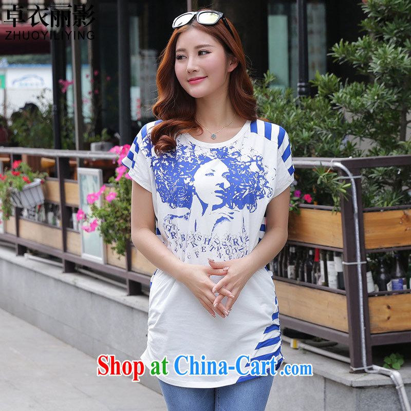 Cheuk-yan Yi Lai shadow the Code women 2015 summer new loose video thin retro stamp Avatar stitching streaks T shirt short-sleeved T-shirt blue 5 XL recommendations 165 - 180 jack