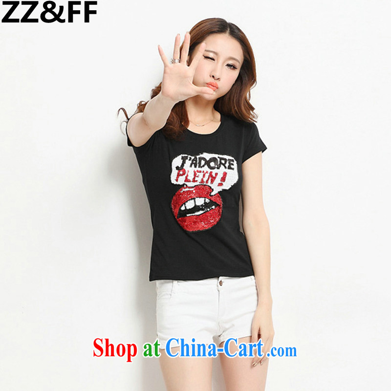 ZZ _FF Plus is indeed increasing, female summer 2015 thick sister loose video thin solid T-shirt 200 Jack mm thick short-sleeved shirt T female black XXXXXL