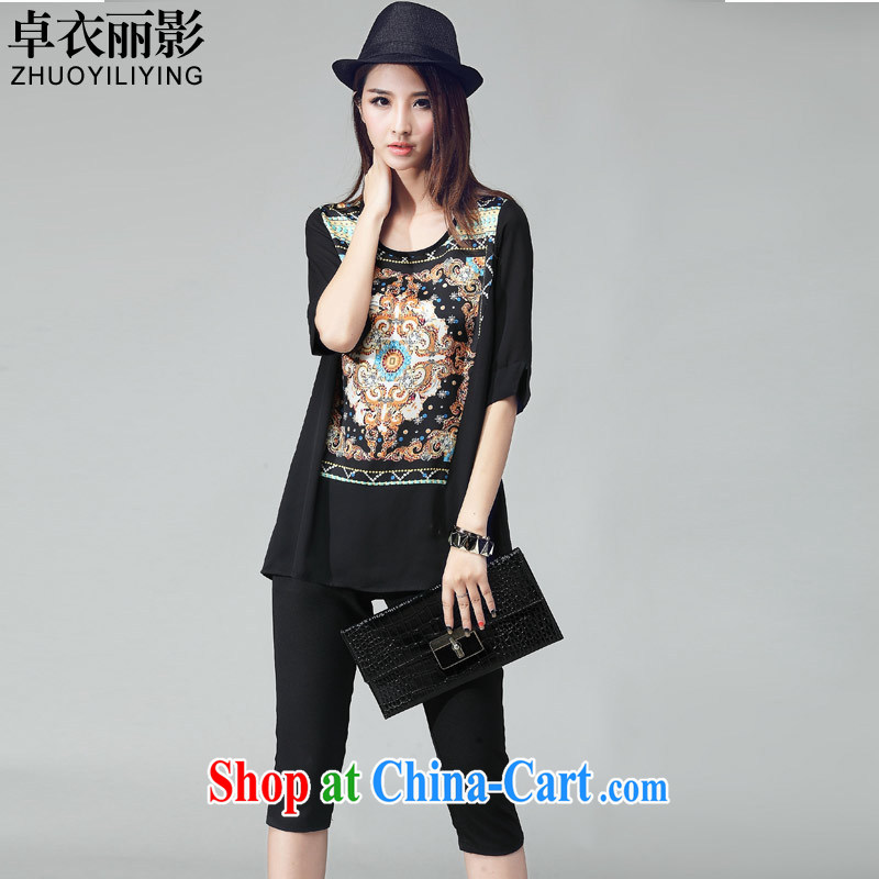 Cheuk-yan Yi Lai shadow King, women summer 2015 new stylish casual simplicity 7 pants Ethnic Wind T pension two-piece black 8005 3 XL