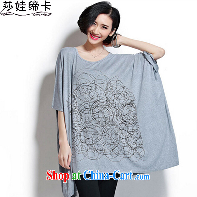 She concluded her card T-shirt 200 Jack larger female summer wear thick sister summer graphics thin T-shirt loose short-sleeved sum female T T-shirt light gray are code 100 to 300 jack to wear