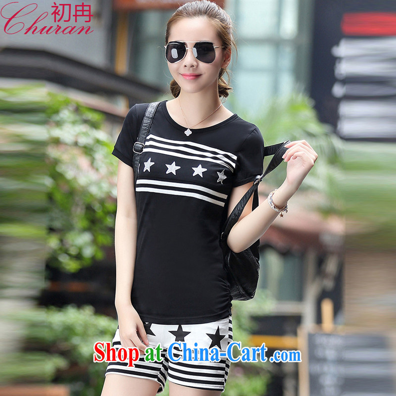 The Mayan 2015 summer female new stamp short sleeve shirt T girl stylish sport and leisure package girls summer 3022 A _black 956 XXXL