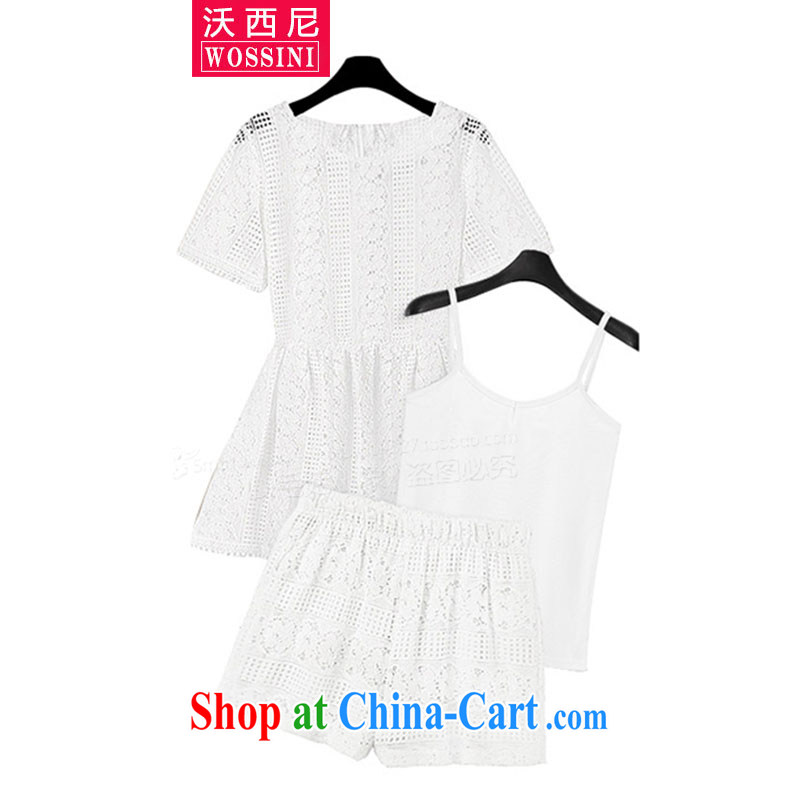 Kosovo, mm thick lace short sleeve Dress Shorts vest 3 piece kit 2015 Europe and indeed the XL summer female new YJ 1514 white XXXL