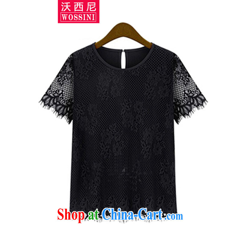 Kosovo, mm thick solid color Openwork cuff video thin T pension 2015 new summer, new Europe and indeed the XL female YJ 1518 black XXXXXL