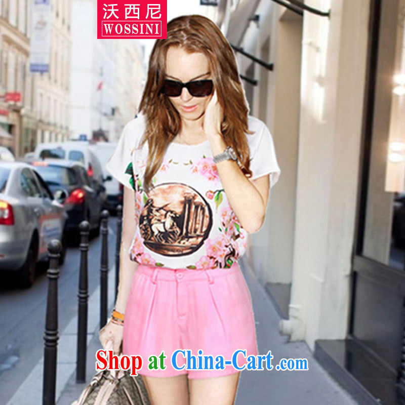 The stamp duty, snow woven short-sleeved T-shirt shorts casual stylish package 2015 Europe and indeed the XL summer female new YJ 1426 photo color XXXXXL