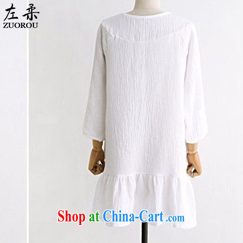 Left Sophie 2015 spring and summer king in Europe and America, female and indeed intensify, loose cotton the dresses summer thick mm thick sister white skirt white XXXXXL, left Sophie, shopping on the Internet