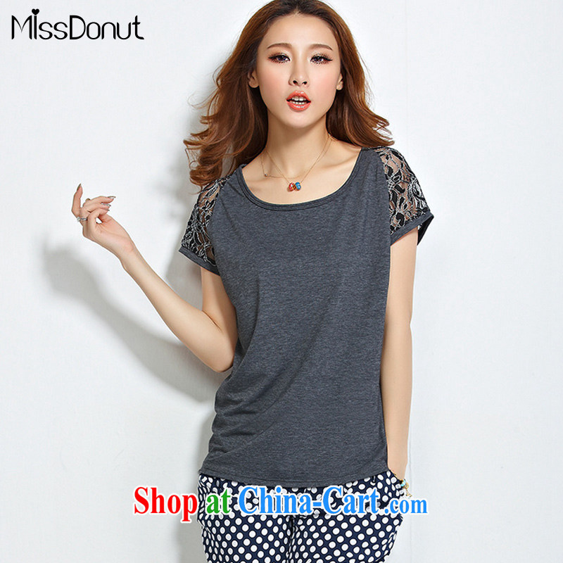 MissDonut 2015 summer thick girls increased load, Korean thick mm video thin stamp very casual bat sleeves shirt T T-shirt large gray code 4 XL