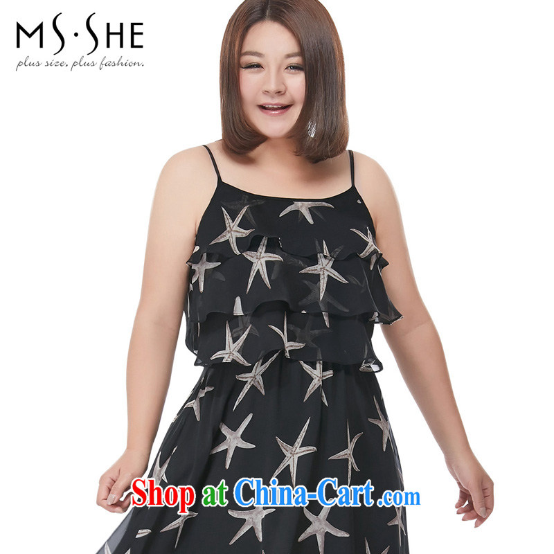 The MSSHE Code women summer 2015 new Bohemia, stamp duty straps vest long skirts 4315 black 5 XL