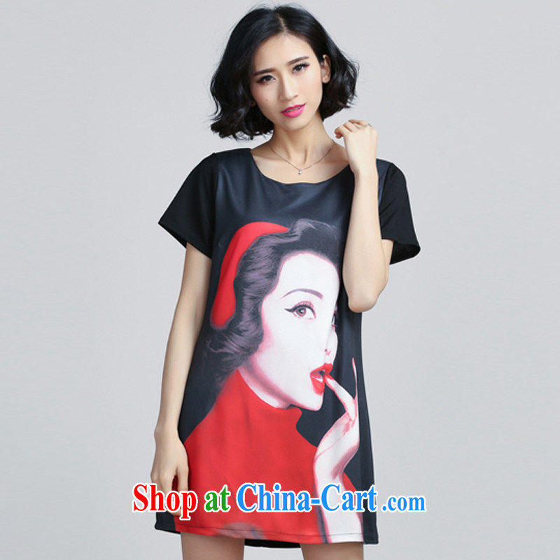 The Soviet Union's 2015 summer big man in stamp duty long loose video thin short-sleeved dresses black 5 XL