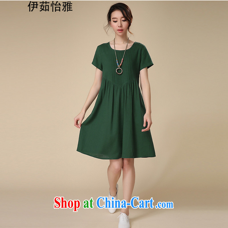 The Ju-Yee Nga 2015 summer new thick sister graphics thin large code women's clothing cotton Ma dresses YS 5280 green XXL