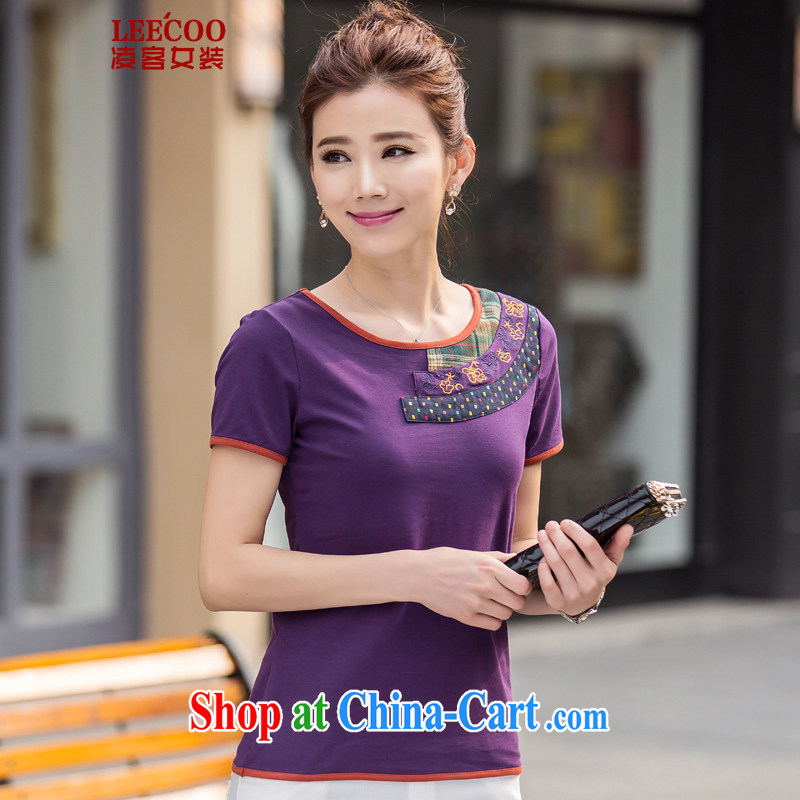 Ling, leecoo 2015 summer on the new larger female female T shirt BB 9603 purple 3XL