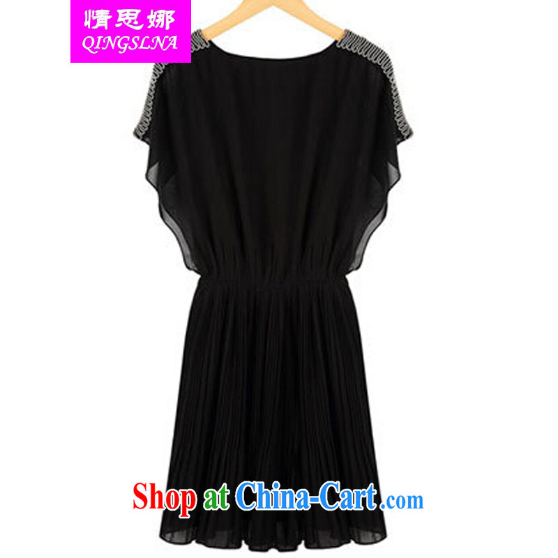 And Cisco's 2015 new European site large, thick MM 200 Jack snow woven graphics thin dresses summer female black XXXXL