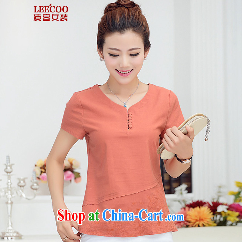 Ling, leecoo 2015 summer on the new larger female female T shirt MB 9823 rusty red 3 XL