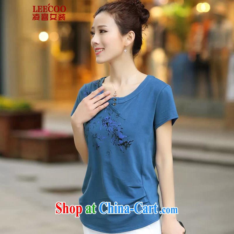 Ling, leecoo 2015 summer on the new larger female female T shirt XB 8161 denim blue XL