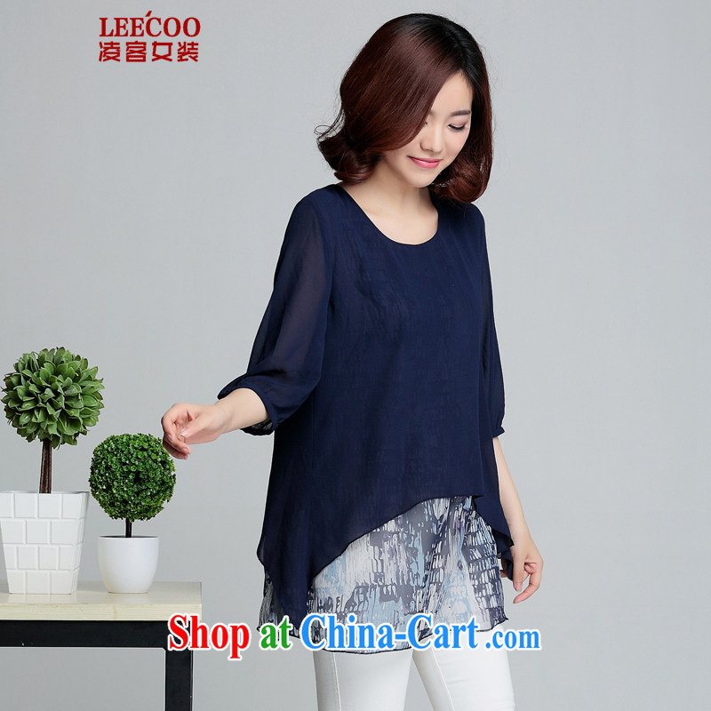 Ling, leecoo 2015 summer on the new larger female female snow woven shirts XH 9217 Tibetan cyan XL