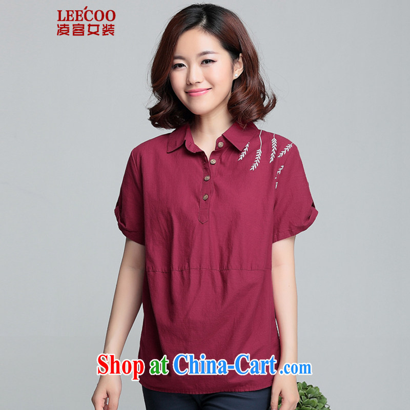 Ling, leecoo 2015 summer on the new larger female female shirt XH 9357 maroon 3XL