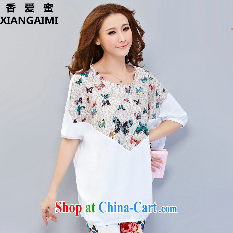 Hong Kong Love honey 2015 mm thick summer new, larger female cotton loose short-sleeved T-shirt and indeed increase sport and leisure Package white XXXXL