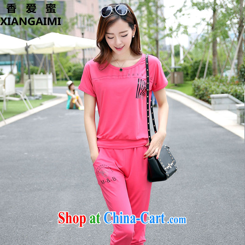 Hong Kong Love honey 2015 new summer wear the Code women mm thick Korean stylish short-sleeve T shirts 7 pants, trousers sport and leisure package two-piece red XXXXL