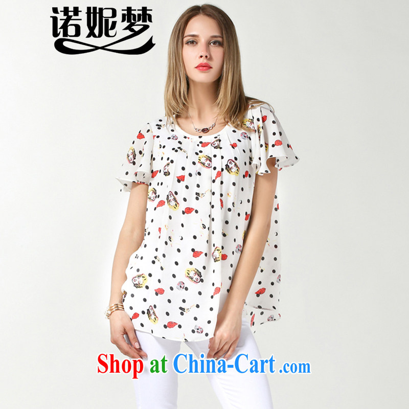 Connie's dream in Europe and indeed the XL female 200 Jack thick sister summer new cartoon stamp the Point snow woven shirts loose short-sleeved T-shirt women s 3617 white XXXXL