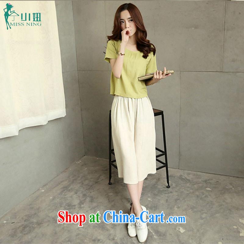 Ning small girl summer 2015 new art nouveau cotton Ma Sau San Kit linen two-piece T-shirt + long skirt green T-shirt M skirt XXL