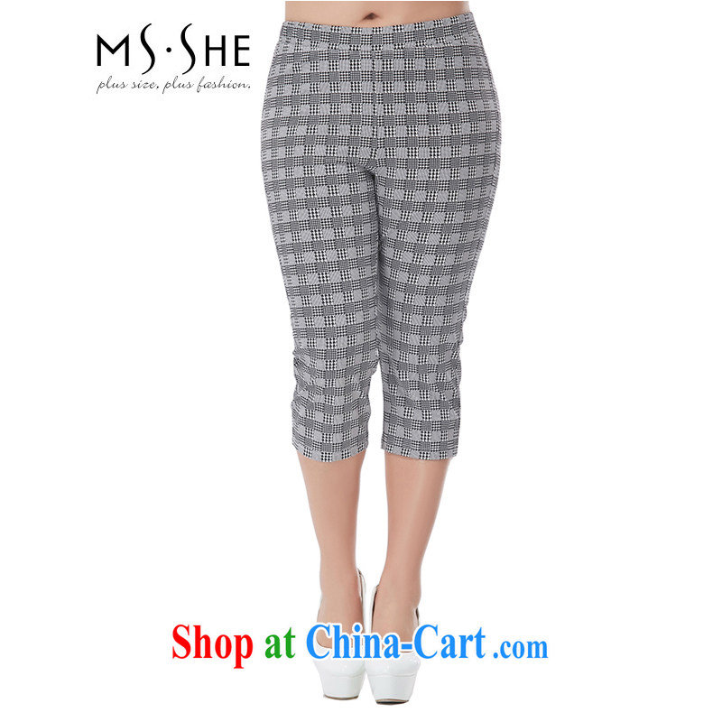 MsShe XL female stamp thin thick mm video thin beauty stretch castor pants 7046 black-and-white, 7 T 2