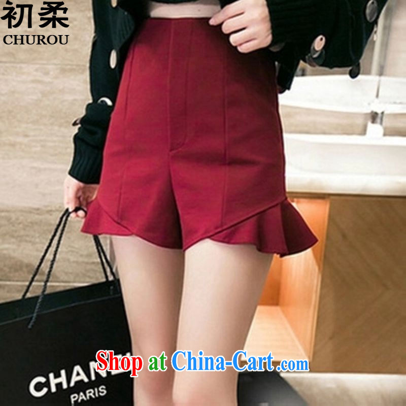 Flexible early summer 2015, high-waist 100 ground shorts 200 jack to wear thick, the fat and loose ground 100 summer wear shorts female wine red XL