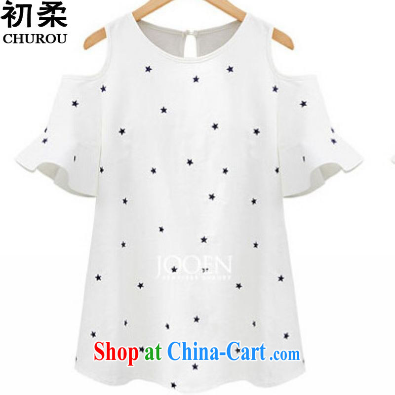 Flexible early 2015 summer XL Women focused on Europe and MM sexy bare shoulders relaxed graphics thin stars short-sleeved T pension 200 jack can be seen wearing white XXXXL