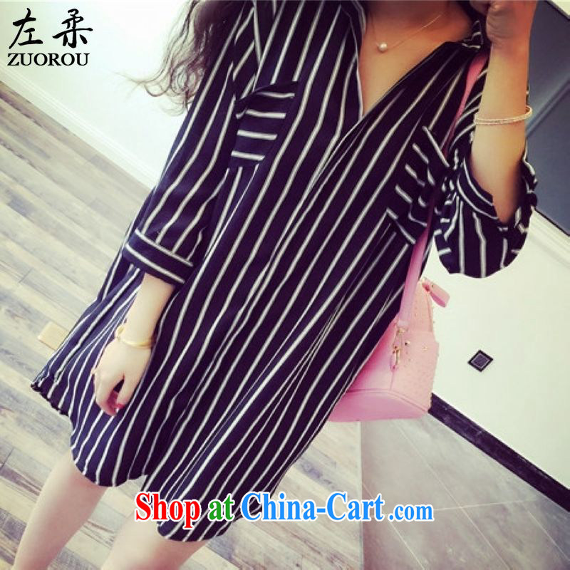 Left Sophie 2015 Korea and indeed XL female 200 Jack mm thick summer graphics thin T-shirt fat sister, long cardigan shirt black XXL