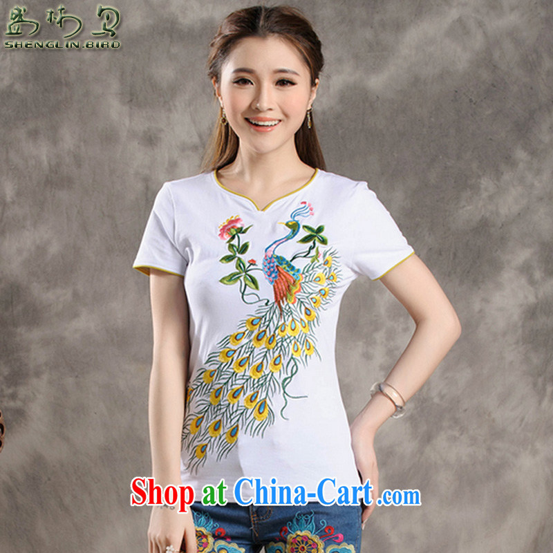 Summer new Ethnic Wind retro Peacock embroidery stitching small V collar personalize the Code women with a short-sleeved shirt T female sung lim bird 2015 delivery package mail white 4XL