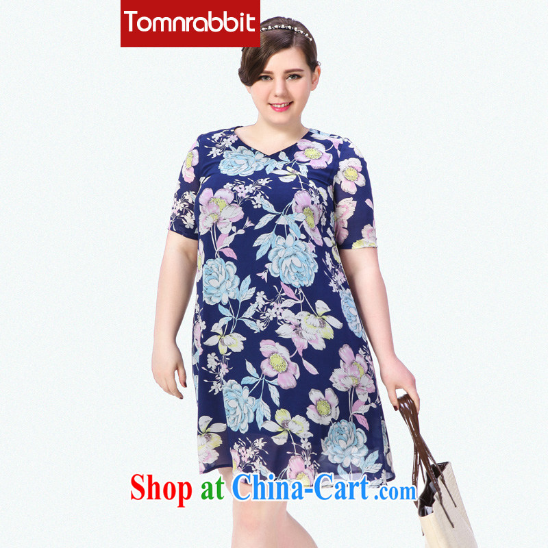 High-end large, female 2015 summer new thick mm video thin digital stamp, long dresses picture color the code 3 XL