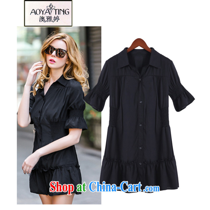 o Ya-ting 2015 New, and indeed increase, female summer thick girls with graphics thin elasticated waist dresses summer black 5 XL recommends that you 175 - 200 jack