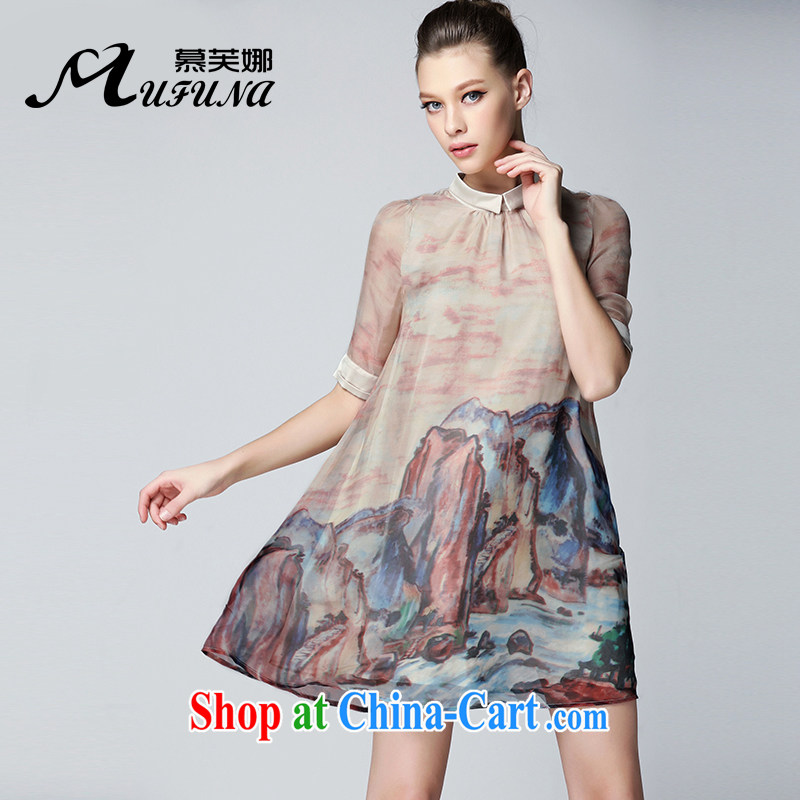 The summing up of summer 2015 with new high-end silk skirt thick mm XL female temperament graphics thin mountains and rivers are stamp duty short-sleeved dresses of 2115 pink large code 5 200 XL about Jack