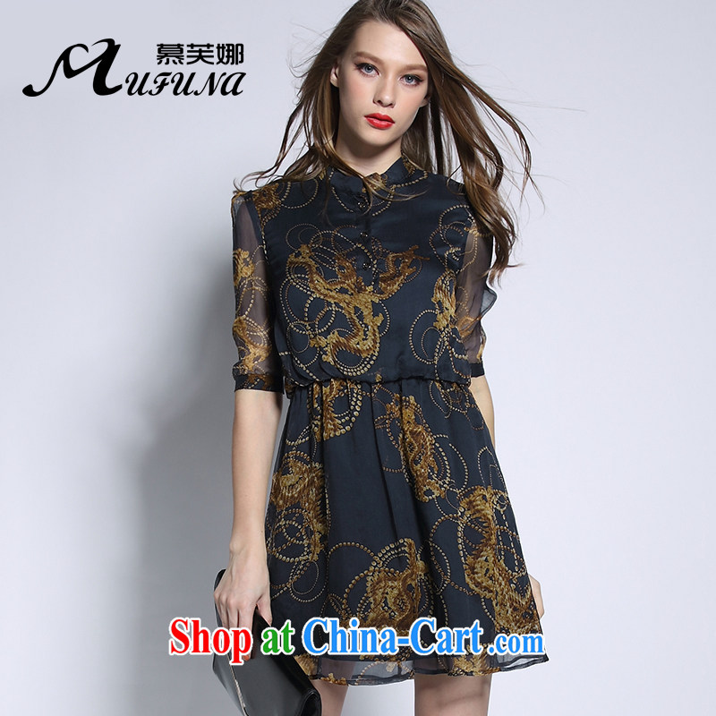 The summing up of summer 2015 the new European and American high-end silk skirt thick mm XL female stamp graphics thin in the cuff collar dress 2119 black large code 5 200 XL about Jack