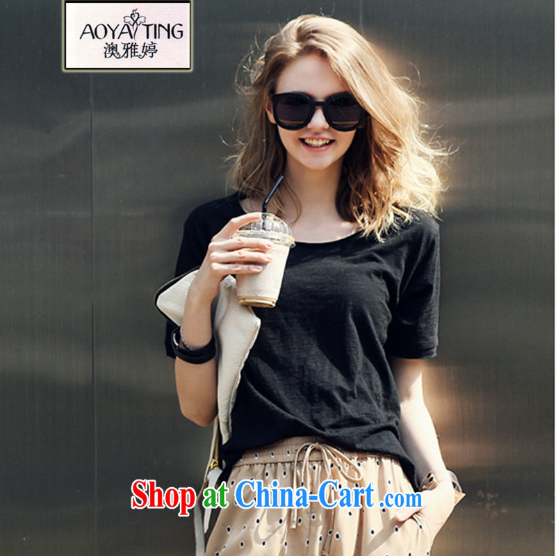 o Ya-ting 2015 summer New, and indeed increase, female fat mm video thin short sleeved shirt T the howling ghost girls cotton shirts black 5 XL recommends that you 175 - 200 jack