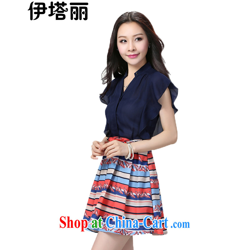 The beautiful snow woven thick mm summer is the XL dresses stamp 2015 summer thick sister stitching lady aura 200 Jack King short skirt blue suit + 4 XL