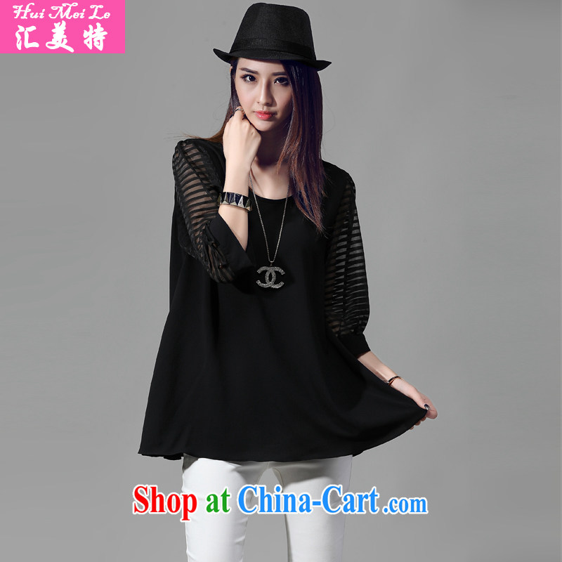 Meeting the US the short-sleeved snow-woven shirts large code female fat people video thin, the fat XL thick MM summer black 3 XL