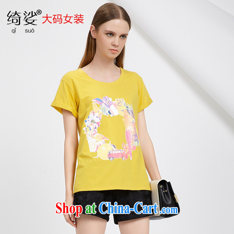 cheer for 2015 XL girls thick MM summer new Korean version 100 ground stamp graphics thin black-out poverty short-sleeved T shirt 2751 yellow 2 XL