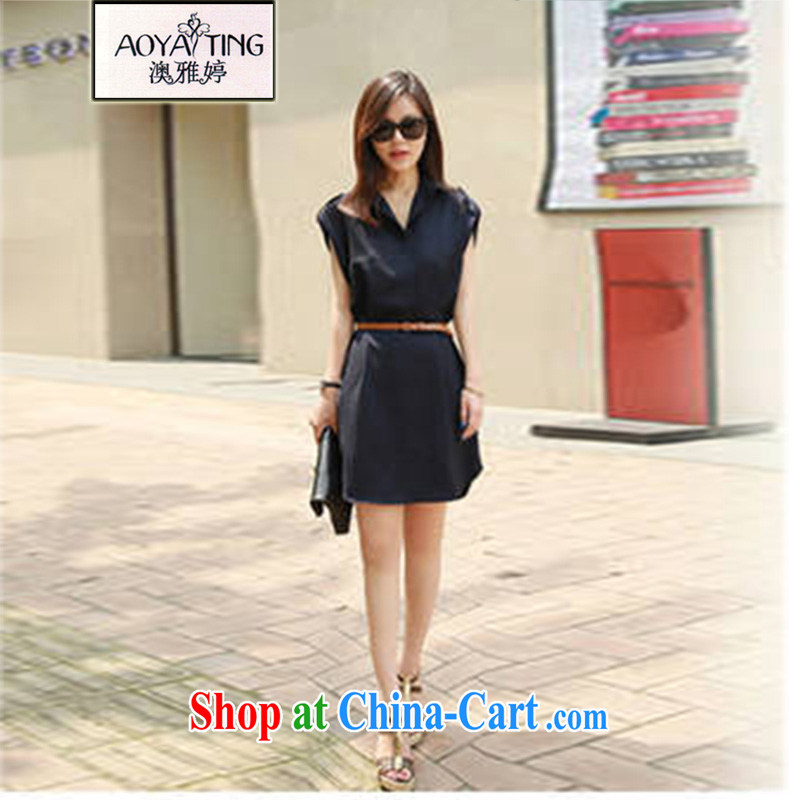 o Ya-ting 2015 summer New, and indeed increase, female fat mm video thin ice woven short-sleeved dresses female Tibetan cyan 3 XL recommends that you 145 - 165 jack