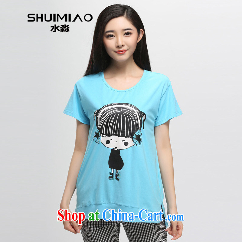 Water by 2015 summer load new Korean version 200 Jack mm thick and indeed increase, short-sleeved T-shirt Girl S XB 15 5076 sky XXL