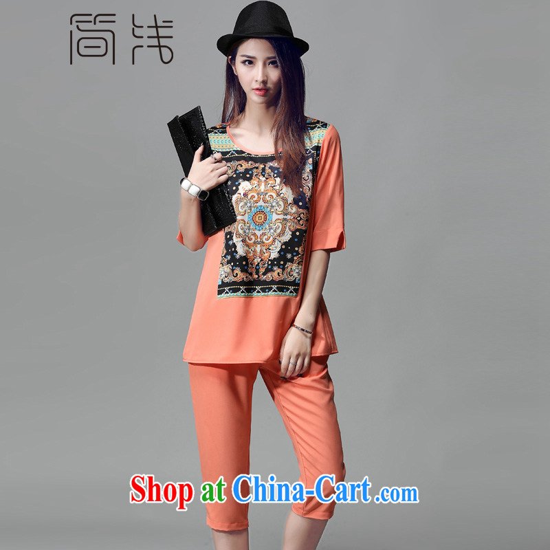 In 2015 a new, female summer the Code women retro Ethnic Wind stamp kit two-piece short-sleeved T-shirt girl V 8005 orange 4 XL