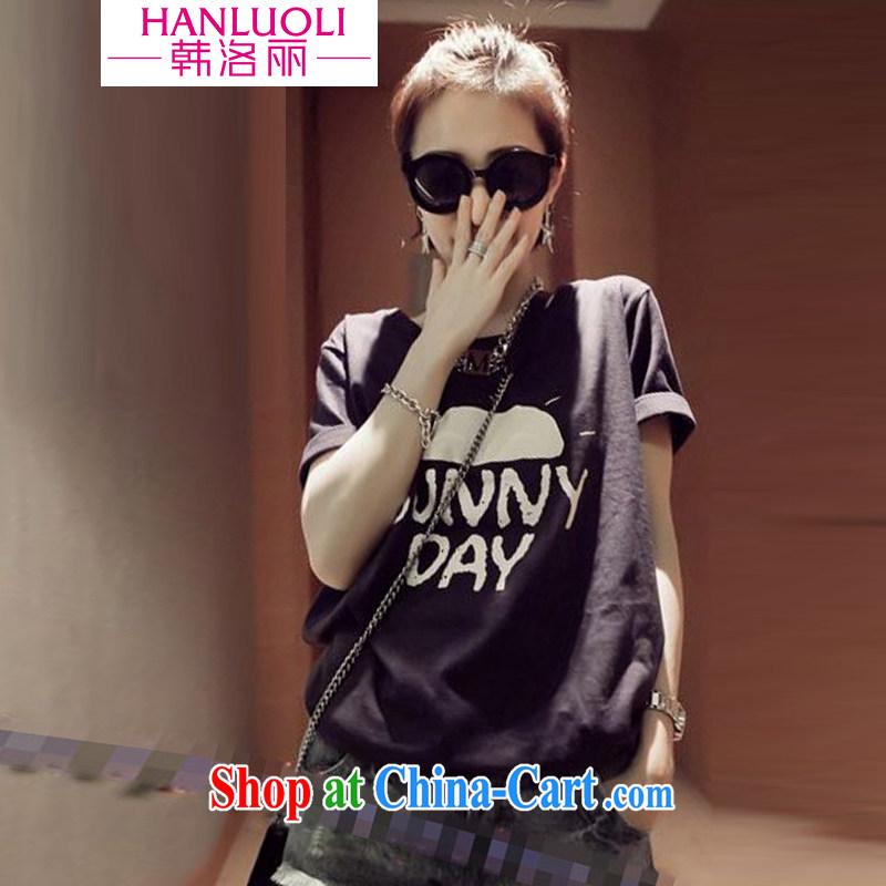 Korea, Gloria 2015 new boudoir honey sister with Korean version the code loose cartoon T-shirt Harajuku, short-sleeved girls T-shirt black Garfield cat XL