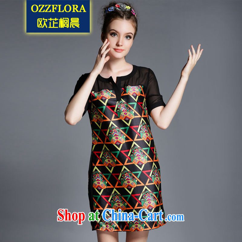 OZZFLORA 2015 Summer in Europe and the new, and indeed increase, female fat mm grid stamp hit color beauty short-sleeved dresses picture color 5 XL