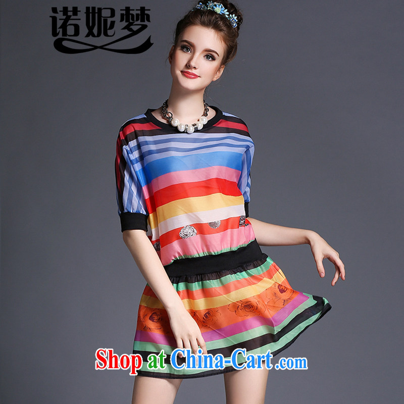 Connie's dream 2015 summer new high-end in Europe and indeed the XL female 200 Jack mm thick-waist graphics thin knocked color streaks dresses G 690 XXXXXL suit